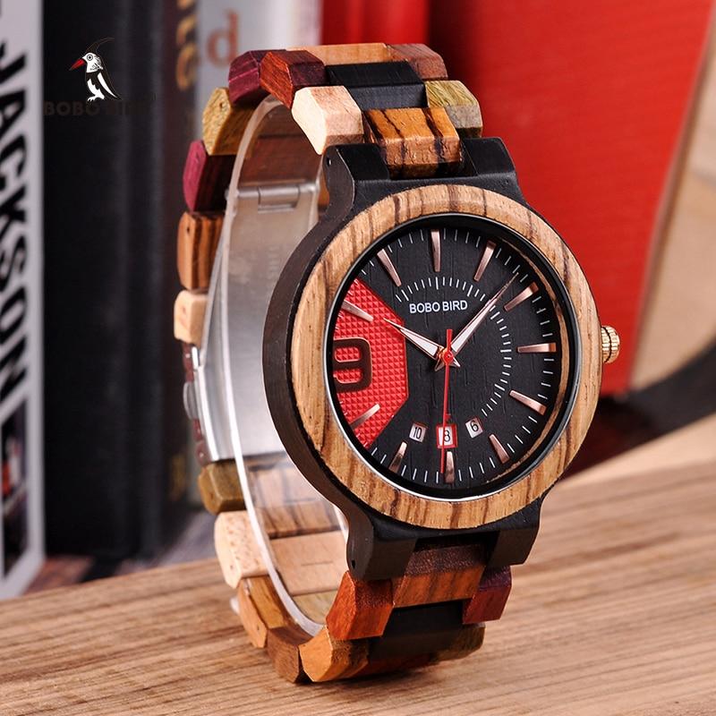 Бобо птица Relogio Masculino деревянные часы Для мужчин Роскошные Дата Дисплей дерева кварцевые часы Для мужчин s большой подарок erkek коль saati w-Q13
