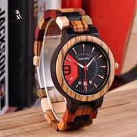 BOBO BIRD Colorful Luxury Wooden Watches Men Timepieces Fashion Wood Strap Date Display Quartz Watch Ideal