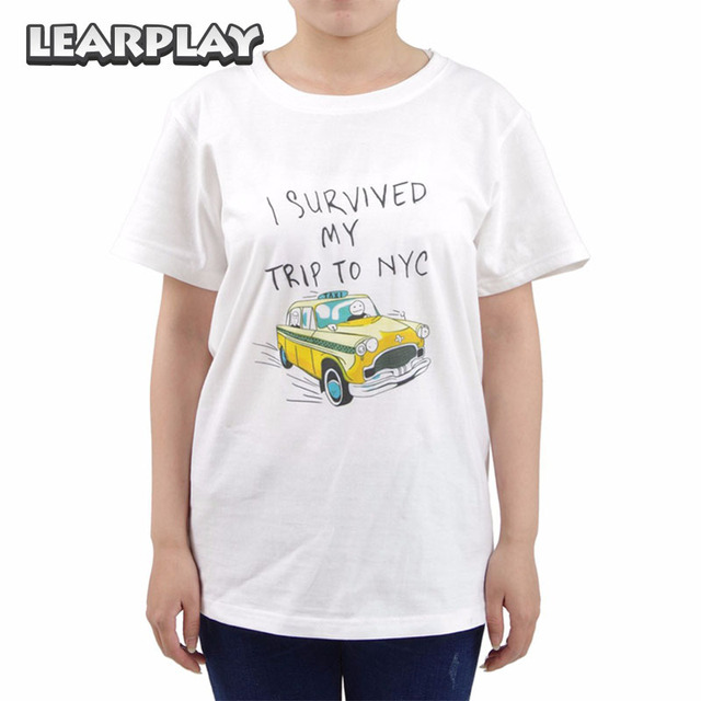 2018 Spider-Man Homecoming T-shirt Peter Parker White Short Sleeve tshirt  Man Tees I Survived My Trip to NYC Top aee59833cfc