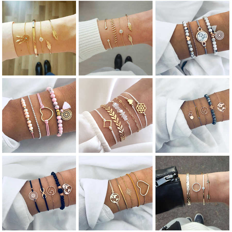 Tocona 30 Style Bohemia New Fashion Multi-layer Shell Animal Geometric Tassel Crystal Gold Silver Color Bracelet Women Jewelry