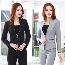 Women 2 Piece Pants Set Female Work Blazer Pants Suit Black Grey Ladies Slim Fit Trouser Suits Elegant Business Set