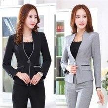 Women 2 Piece Pants Set Female Work Blazer Pants Suit Black