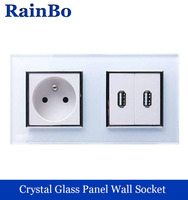 Wall Socket French Standard Power Socket USB Outlet White Glass Panel AC Wall Power Smart Outlet