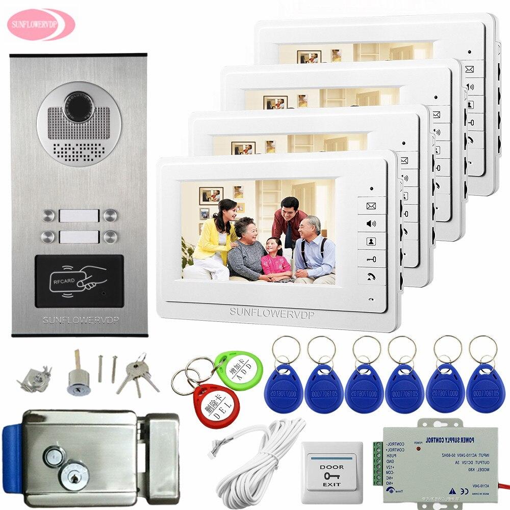 Video Intercom 7 Inch Color Door Phone System 4 Apartment Door Intercoms Intercoms For Private Houses With Electronic Door Lock