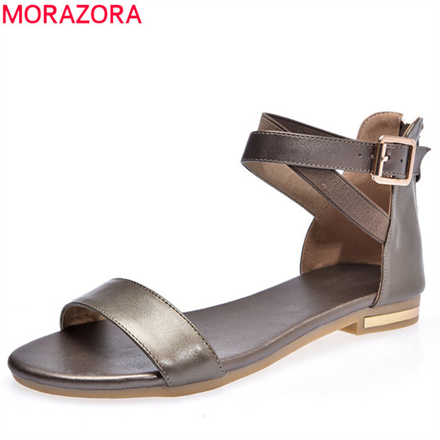 MORAZORA 2019 yeni sandalet kadın hakiki deri ayakkabı zip toka yaz ayakkabı basit rahat ayakkabılar bayanlar plaj ayakkabısı