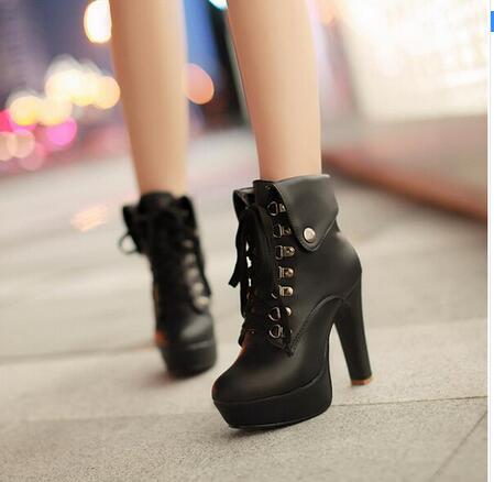 zapatos para correr ventas al por mayor precios baratass Plataforma mujeres tacones altos botas de cordones de tacón ...