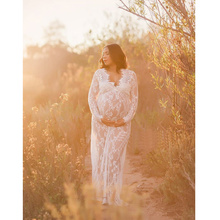 Women Photography Maternity Dress Lace Long Sleeve Gown V-neck White