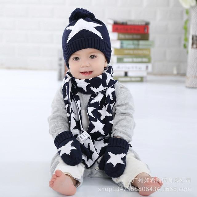 a8811af1aac 3 Pieces Winter Children Knit Hat Scarf Mitten Set Crochet Baby Boys Girls  Beanie Hat Scarf Glove Set