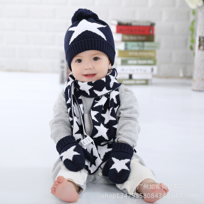 3 Pieces Winter Children Knit Hat Scarf Mitten Set Crochet Baby Boys Girls Beanie Hat Scarf Glove Set