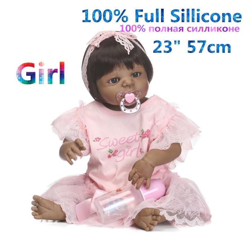 23 Mom Accompany Doll Reborn Black Full Body Silicone Adoption Play House Artificial Open Eyes Sleeping Girl Doll Reborn Baby full house
