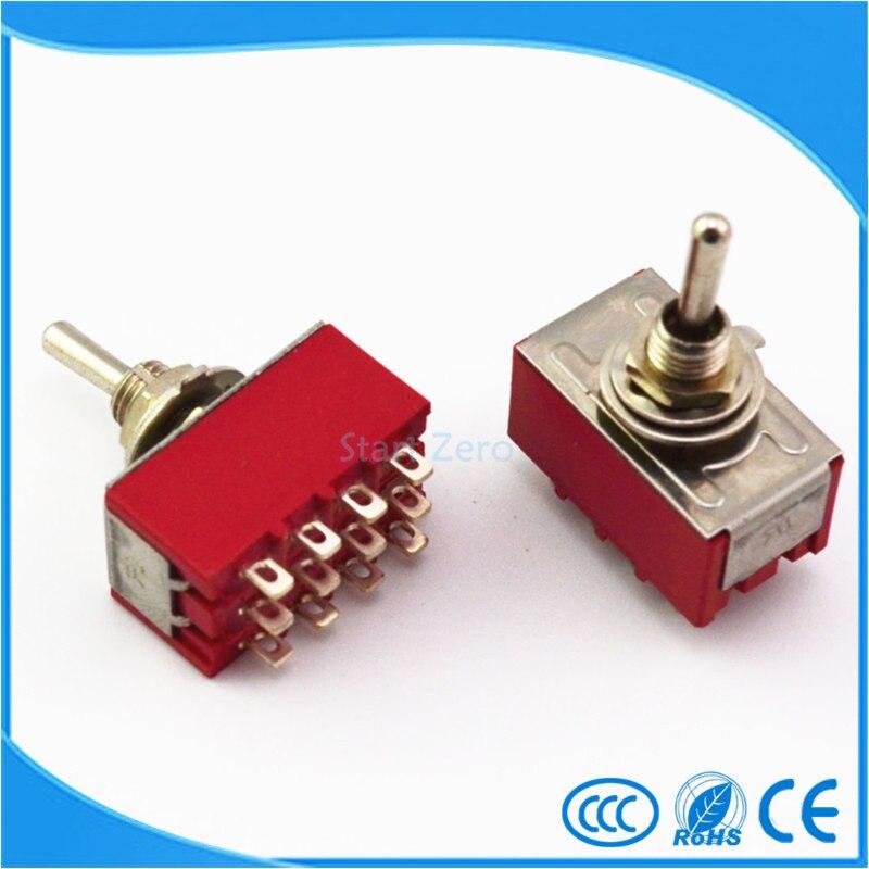 цена на 10Pcs 12-Pin Mini Toggle Switch 4PDT ON-ON/ON-OFF-ON 2A250V/5A125VAC MTS-402 MTS-403