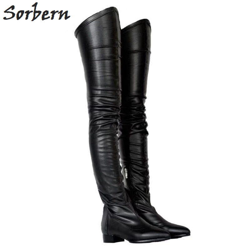 Sorbern Fashion Thigh High Boots For Women Pointed Toe Low Hoof Heels Winter Warm Shoes Women Black Plus Size 34-47 Custom Color