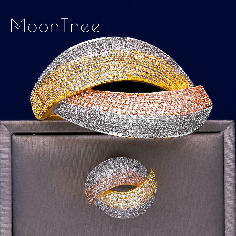 MoonTree Dubai Wedding Copper Jewelry Sets For Women Three Tone Bride Accessories Cubic Zircon Elegant Wide Bangle Ring Set MoonTree Dubai Wedding Copper Jewelry Sets For Women Three Tone Bride Accessories Cubic Zircon Elegant Wide Bangle Ring Set