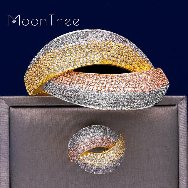 MoonTree דובאי חתונה נחושת תכשיטי סטים לנשים שלושה טון הכלה אביזרי מעוקב זירקון אלגנטי רחב צמיד טבעת סט