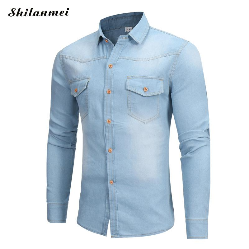 Denim Shirts Men 2017 Winter Camisa Social Slim Fit Men Shirt Long Sleeve Dress Shirt Camisa Masculina Manga Longa Blue S-XL