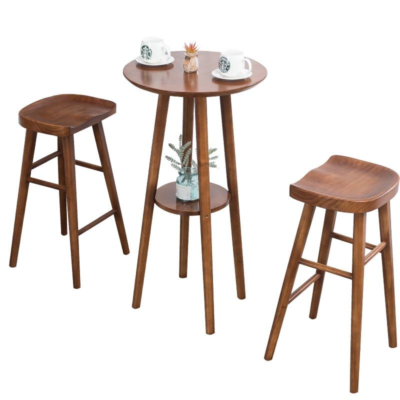 Nordic Solid Wood Bar Stools Creative Wood Bar Chair Leisure Bar Chair Fashion High Stool