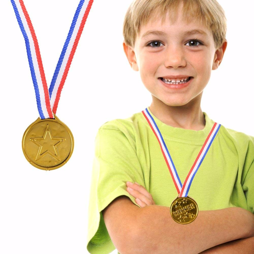 1pc Children Gold Plastic Winners Medals Sports Day Party Bag Prize Awards Toys For Party Decor