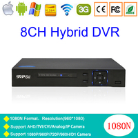 Blue Ray Case 5 In 1 8CH 4CH 1080N 960P 720P 960H Zhiyuan Chip Hybrid NVR