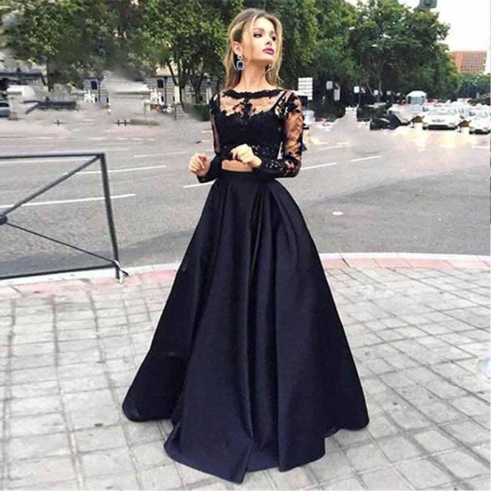 Verngo Lace Applique 2 Piece   Evening     dresses   2019 Sexy Long Sleeve A Line Hot Sale Vestidos De Renda Black Long Gowns