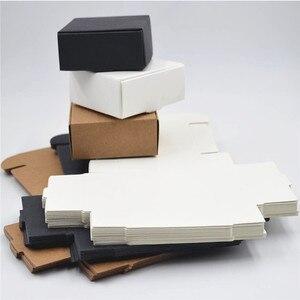 Image 3 - 2000 Tamanho pçs/lote 9*8.6*1.6cm Branco caixas de papel para embalagens, preto kraft caixa de papel cartão, papel de caixa de presente caixas de papel Marrom kraft