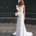 Verão barato Vestidos Ruffled Chiffon Cintas de Espaguete vestido de Chiffon Praia vestido de Casamento Branco Vestido De Noiva 2017 em 100