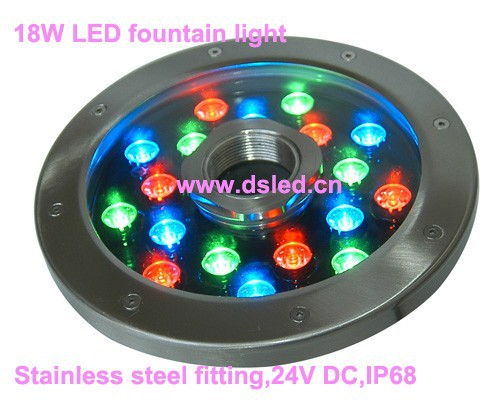 Free shipping !! New design,IP68,18W RGB LED underwater light,LED fountain light,stainless steel,DS-10-50-18W,18*1W,24V DC