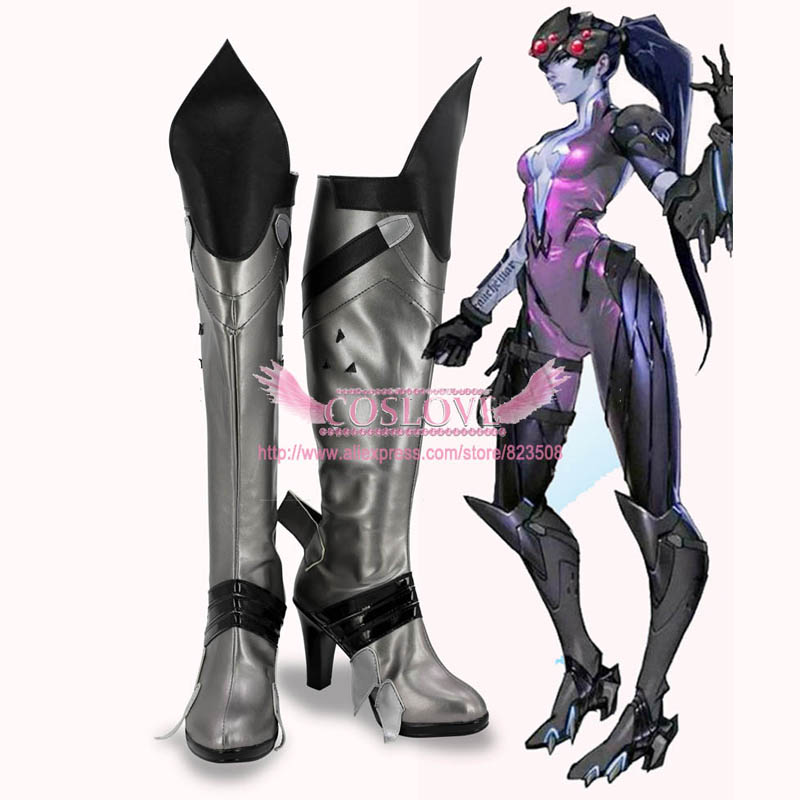OW Game Widowmaker Amelie Lacroix Black Shoes Cosplay Boots CosplayLove ow amelie lacroix widowmaker cosplay costume custom made any size