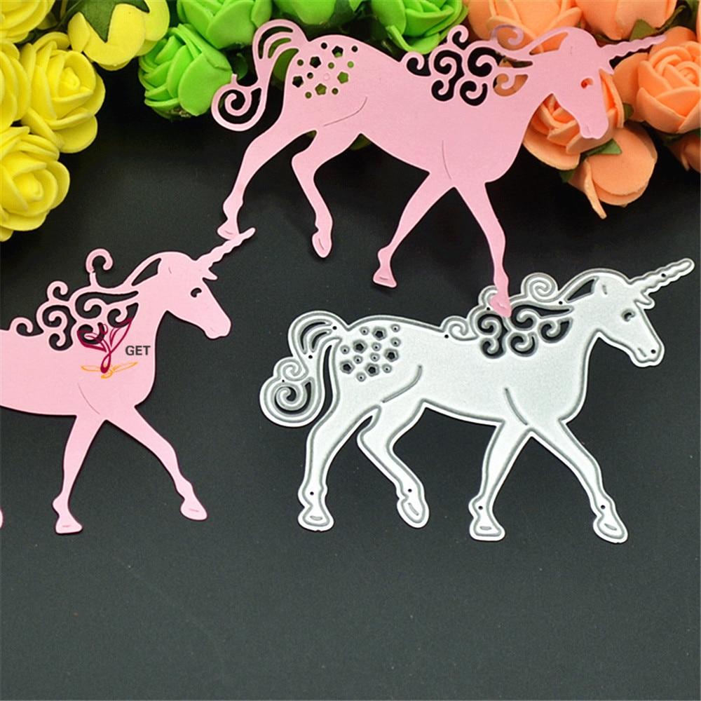 1PC Unicorn Horse Metal Cutting Dies Stencil DIY Scrapbooking Photo Album Card Paper Embossing Decoration Craft Steel Die Cuts