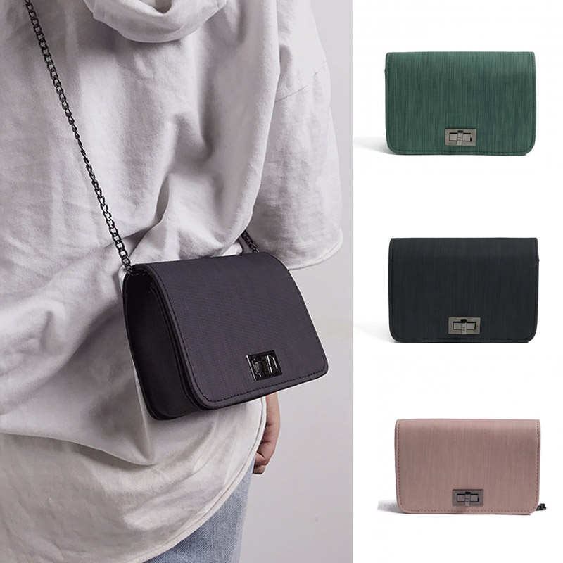 Hot Sale 1pcs Women Chain Crossbody Bags Small Elegant Shoulder Bag Dark Green PU Textured Buckle  Bolsos Mujer KA-BEST