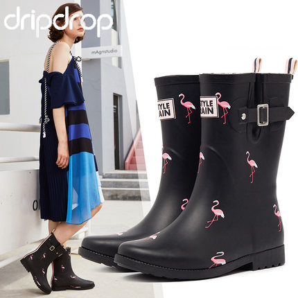 DRIPDROP Natural Rubber Rain Boots for Women Mid Calf Fashion Girls Rain Shoes Flamingo Roses Adjustable