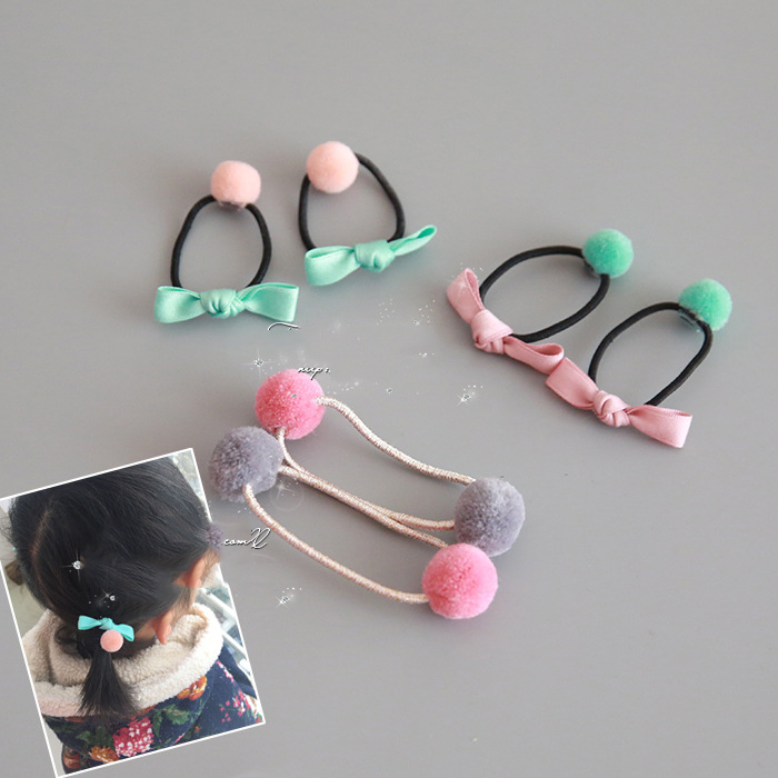 2 PCS Bowknot Ball Double Head Hair Circle Elastic Hair Bands Handmade Girls Women Barrette Hair Accessories magic elacstic hair bands big rose decor elastic hairbands hair clips headwear barrette bowknot for women girls accessories