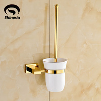 Free Shipping Wholesale And Retail Golden Finished Toilet Brush Holder Solid Brass Ceramic Cup Wall Mount