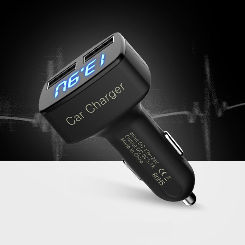 Multifunction Dual USB Car Charger 3.1A Voltage/Temperature/Current Meter Tester Digital LED Celsius Display Phone Charger