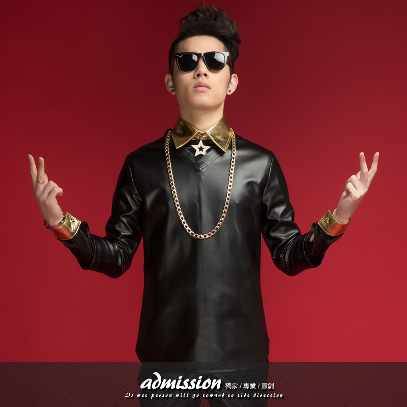 2015 New style Male Gold collar Leather dj ds twinset costume Stage show men's Patchwork color block shirt