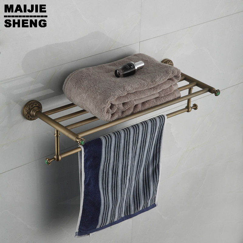 Whole brass green stone Antique bath towel rack bathroom towel shelf bathroom towel holder Antique Double towel shelf купить