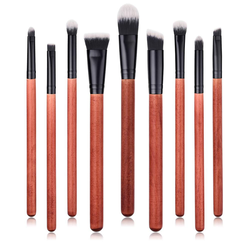 9pcs/Set Pro Makeup Brushes Set Nature Redwood Handle Face Lip Eye Shadow Eyebrow Blush Powder Brushes Beauty Cosmetic Tool Kit
