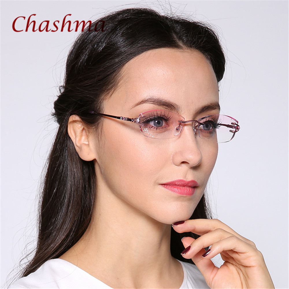 Chashma Brand Titanium Fashionable Famale Fashion Eyeglasses Rimless Spectacle Frames Women Stones Lenses Rhinestone for Women