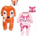 Jumpsuit + Sombrero Animal Con Capucha Estilo Mamelucos Del Bebé Niños Niñas Ropa Ropa Trajes Recién Nacido