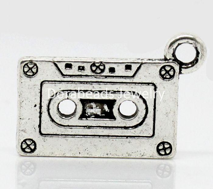DoreenBeads Charm Pendants Tape Antique Silver 27x13mm,20PCs (B22474) yiwu