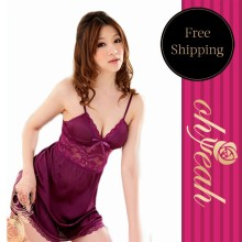 New arrival sleepwear purple v-neck backless sex underwear breathable fitness babydoll bride robe pijama women bathrobe