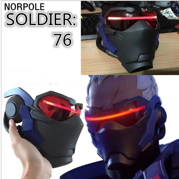 Vente chaude Athemis Soldat 76 cosplay Masque De Haute qualité et même que l'original Jeu cosplay lumineux masque EMS livraison gratuite