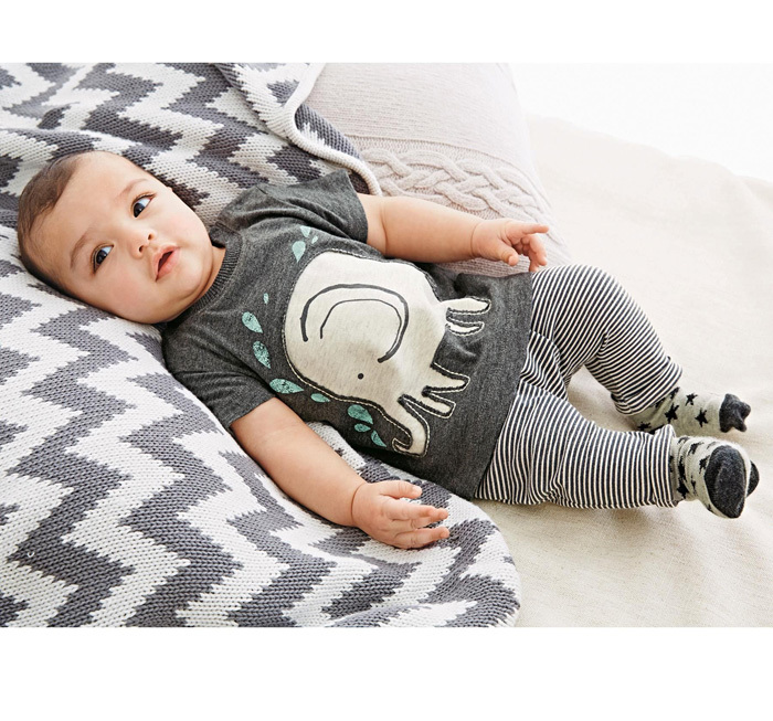 2015 Cute Baby Clothes Elephant T Shirt Pants Newborn Baby Clothing