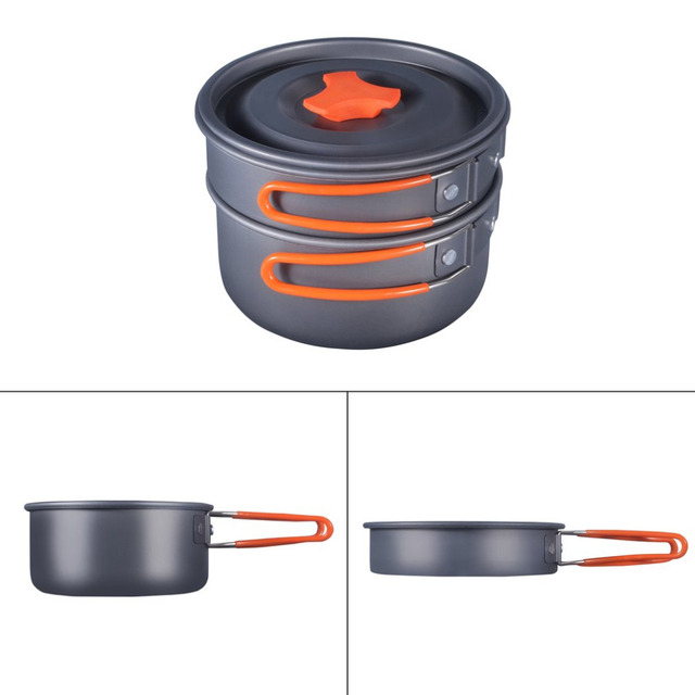 1-2 person 8pcs Outdoor Camping Hiking Picnic BBQ Cookware Backpacking Cooking Picnic Bowl Pot Fry Pan Dinner Survival Equipment
