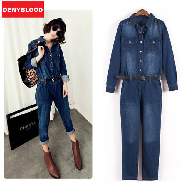 2015 American Appear Women Long Sleeve Denim Overalls Female Loose Cotton Jean Jumpsuits Ladies Casual Rompers 032901 Size S,M,L