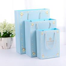 10pcs/lot Blue Pink Small Paper Gift Bag with Handle Christening Gender Reveal Bags Kids Birthday Party Package