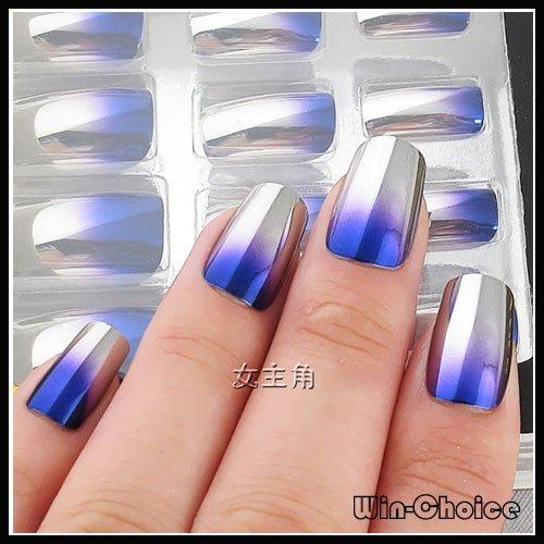 Fashionable Pre Design Nail Tips On Sale Metallic Looking Nail Art