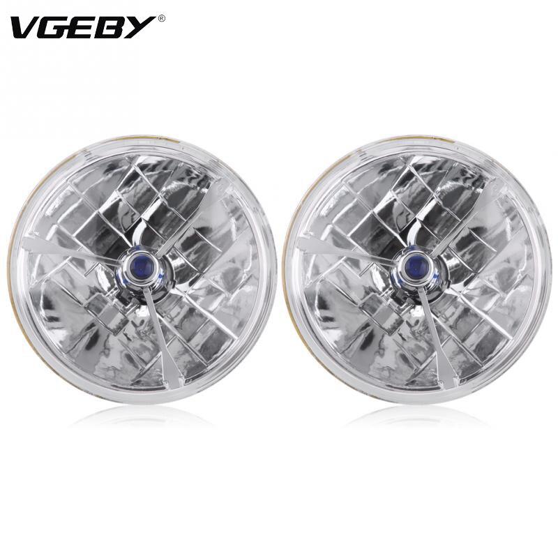 1pair 7inch Blue Dot Tri Bar H4 Headlight Clear Lens for Ford Chevy Nova 55 56