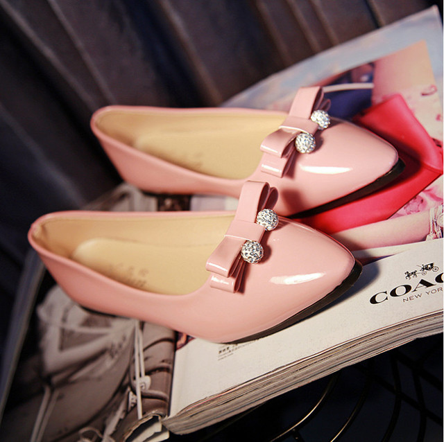 ballerina wedding shoes women sweet candy ballet pointy PU leather shoes  girls flats crystal spring flat shoes butterfly ball a97df6d0694d