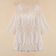 Mini White Dress Elegant Half Sleeve O Neck Lace Floral Crochet