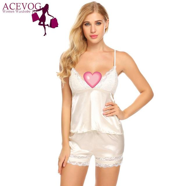 ACEVOG Pajamas Elastic Sleep Nightwear Shorts Women Lace Cami Patchwrok  Sexy Two Satin Top Piece V-Neck Sleepwear Waist and Set 10903d7ff